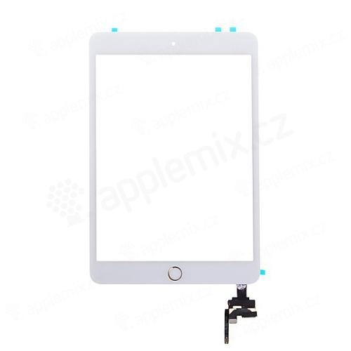 Dotykové sklo (touch screen) + IC konektor a flex s Home Buttonem pro Apple iPad mini 3 - bílé se zlatým tlačítkem