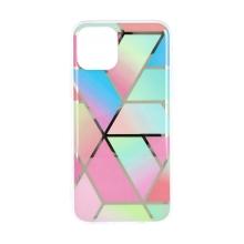 Kryt FORCELL Marble Cosmo pro Apple iPhone 12 / 12 Pro - gumový - duhové šestiúhelníky