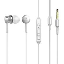 Sluchátka Baseus pro Apple zařízení - špunty - ovládání + mikrofon - kov / guma - bílá