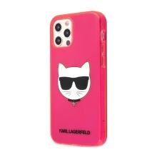 Kryt KARL LAGERFELD Choupette pro Apple iPhone 12 Pro Max - gumový - růžový