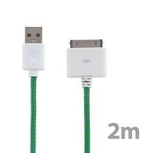 Synchronizační a nabíjecí kabel s 30pin konektorem pro Apple iPhone / iPad / iPod - tkanička - zelený - 2m