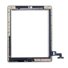 Přední dotykové sklo (touch screen) pro Apple iPad 2.gen. - osazený díl - Home Button + konzole na foto - černé