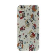 Gumový kryt pro Apple iPhone 6 / 6S - sovičky s květy - lesklý povrch