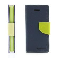 Ochranné pouzdro pro Apple iPhone 5C Mercury Goospery se stojánkem a prostorem pro umístění platebních karet - modro-zelené