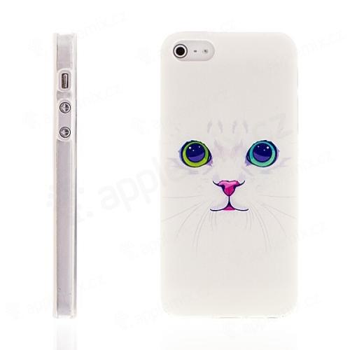 Kryt pro Apple iPhone 5   5S   SE - gumový - kočka - bílý  1cb0af29973