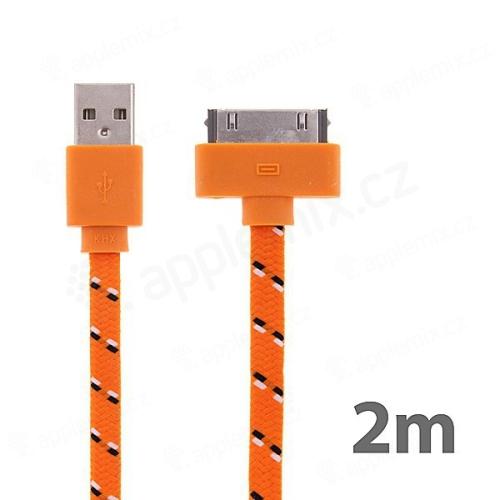 Synchronizační a nabíjecí kabel s 30pin konektorem pro Apple iPhone / iPad / iPod - tkanička - plochý oranžový