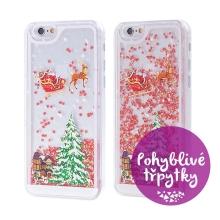 Kryt pro Apple iPhone 6 / 6S - plastový - Santa Claus a stromeček - červené pohyblivé hvězdičky / třpytky
