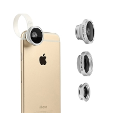Sada objektivů BASEUS pro Apple iPhone - 3v1 - rybí oko / širokoúhlý / makro - plastová spona - stříbrná