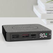 Externí baterie / power bank BLITZWOLF - bezdrátové nabíjení Qi (10W) - 10000 mAh - USB-C + USB-A - šedá