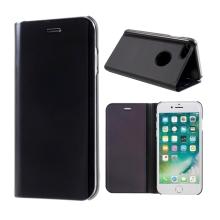 Pouzdro pro Apple iPhone 7 / 8 - plast / umělá kůže - průhledná přední strana - stojánek