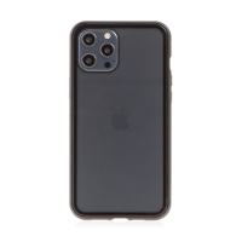 Kryt pro Apple iPhone 12 / 12 Pro - magnetické uchycení - sklo / kov - průhledný / černý