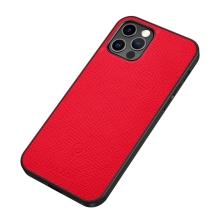 Kryt SULADA pro Apple iPhone 12 / 12 Pro - podpora MagSafe - umělá kůže - červený