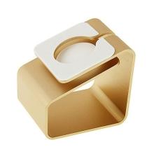 Hliníkový nabíjecí stojánek pro Apple Watch 38mm / 42mm Series 1 / 2 / 3 - matný - zlatý