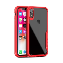 Kryt IPAKY pro Apple iPhone Xr - plastový / gumový - průhledný / červený