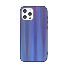Kryt pro Apple iPhone 12 Pro Max - barevný přechod a lesklý efekt - gumový / skleněný - tmavě modrý