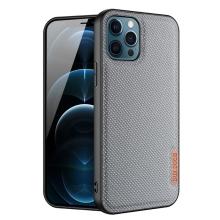 Kryt DUX DUCIS FINO pro Apple iPhone 12 / 12 Pro - látková textura - světle šedý