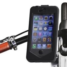 Voděodolné plasto-silikonové pouzdro s otočným držákem na kolo pro Apple iPhone 5 / 5S / SE - černé