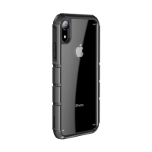 Kryt BASEUS pro Apple iPhone Xr - tankový pás - plastový / gumový - průhledný / černý