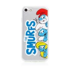 Kryt ŠMOULOVÉ pro Apple iPhone 7 / 8 / SE (2020) - gumový - průhledný - The Smurfs