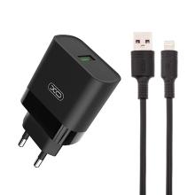 2v1 nabíjecí sada XO pro Apple zařízení - EU adaptér a kabel Lightning - 15W - černá