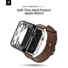2v1 Kryt / rámeček DUX DUCIS pro Apple Watch 38mm 1 / 2 / 3 - lesklý černý + průhledný - gumové