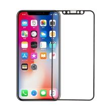 Tvrzené sklo (Tempered Glass) pro Apple iPhone X - na přední stranu - černý rámeček s texturou - 0,3mm