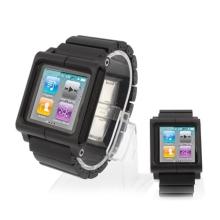 Hliníko-silikonové hodinkové pouzdro pro iPod nano 6.gen. - černé