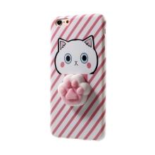 Kryt pro Apple iPhone 6 Plus / 6S Plus - gumový - 3D tlapka - růžový / bílý