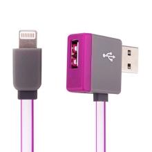Synchronizační a nabíjecí kabel Lightning - pravoúhlý USB konektor + připojovací USB port - růžový - 1m