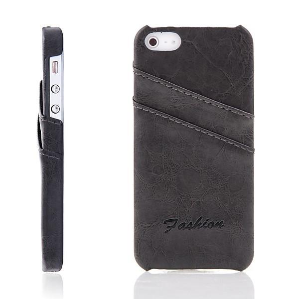 Ochranný kryt pro Apple iPhone 5 / 5S / SE s 2 prostory pro platební karty - šedý