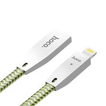 Synchronizační a nabíjecí kabel HOCO Lightning pro Apple iPhone / iPad / iPod - samovypínací - nylonový - reflexní / zelený