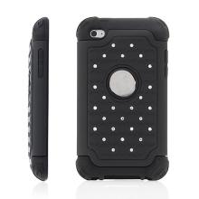 Ochranný plasto-silikonový kryt pro Apple iPod touch 4.gen. - černý s lesklými kamínky