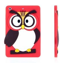 Silikonový kryt pro Apple iPad mini / mini 2 / mini 3 - vykulená sova - červený