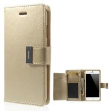 Vyklápěcí pouzdro - peněženka Mercury pro Apple iPhone 6 / 6S - s prostorem pro umístění platebních karet - zlaté