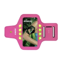 Sportovní pouzdro ROMIX na ruku s LED osvětlením pro Apple iPhone 6 Plus / 6S Plus - růžové