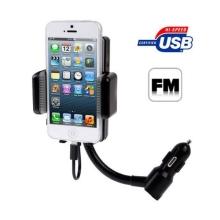 Držák do automobilu pro Apple iPhone 5 / 5C / 5S / SE / 6 / 6S, iPod touch 5 / 6.gen. s autonabíječkou a FM vysílačem - černý