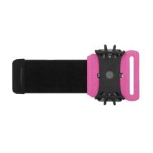 Sportovní držák / pouzdro pro Apple iPhone - látkové / silikonové - pásek na ruku - černé / růžové