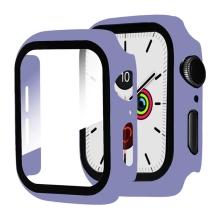 Tvrzené sklo + rámeček pro Apple Watch 44mm Series 4 / 5 / 6 / SE - fialový