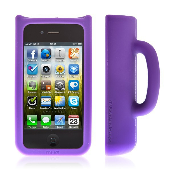 Ochranný kryt a stojánek pro Apple iPhone 4 / 4S Taylor Mug - fialový