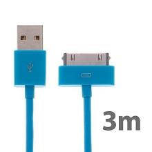 Synchronizační a nabíjecí kabel s 30pin konektorem pro Apple iPhone / iPad / iPod - silný - modrý - 3m