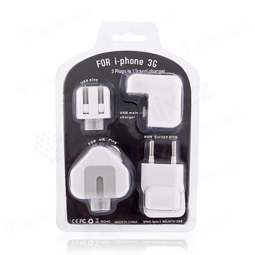 Cestovní nabíječka s redukcemi pro Apple iPhone / iPod / USB zařízení