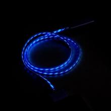 Synchronizační a nabíjecí kabel s 30pin konektorem pro Apple iPhone / iPad / iPod - bílý s modrým podsvícením