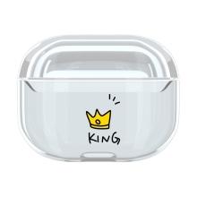 Pouzdro / obal pro Apple AirPods Pro - plastové - průhledné / korunka King