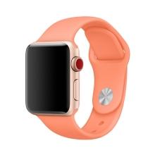 Řemínek pro Apple Watch 44mm Series 4 / 5 / 6 / SE / 42mm 1 / 2 / 3 - velikost S / M - silikonový - broskvový