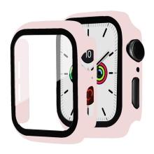 Tvrzené sklo + rámeček pro Apple Watch 44mm Series 4 / 5 / 6 / SE - růžový