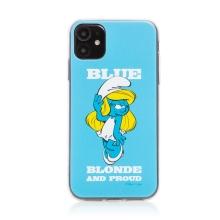 Kryt ŠMOULOVÉ pro Apple iPhone 11 - gumový - modrý / hrdá Šmoulinka