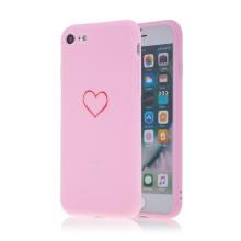 Kryt pro Apple iPhone 7 / 8 / SE (2020) - gumový - srdce - růžový