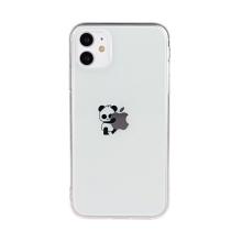 Kryt pro Apple iPhone 11 - gumový - průhledný / stojícií panda