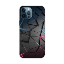 Kryt pro iPhone 12 Pro Max - gumový - geometrická textura - šedá