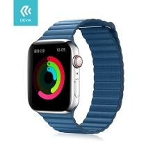 Řemínek DEVIA pro Apple Watch 44mm Series 4 / 5 / 6 / SE / 42mm 1 / 2 / 3 - umělá kůže - modrošedý